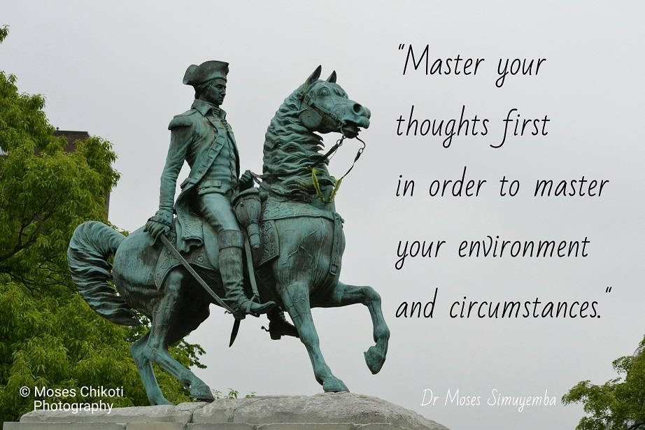 words of motivation. Dr Moses Simuyemba. George Washington Statue. Washington DC.