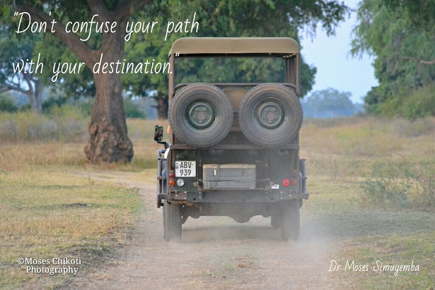 Short inspirational quotes - do not confuse your path with your destination. Dusk game viewing, South Lunagwa National Park, Zambia.