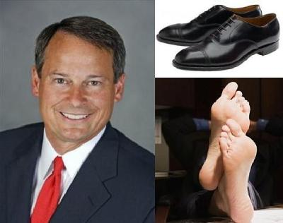 Recipe for Success: Take One Well Dressed Corporate Executive (left), Remove His Expensive Shoes and Socks (upper right) and Fight Gloal Warming! (below right)